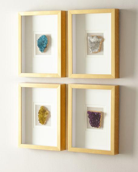 Natural Crystal in Golden Frame, Green