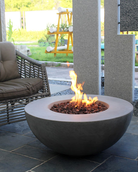 Lunar Bowl Outdoor Fire Table with Natural Gas Assembly