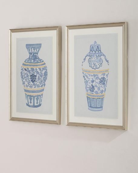 """Blue and Gold Urn I"" Giclee Wall Art"