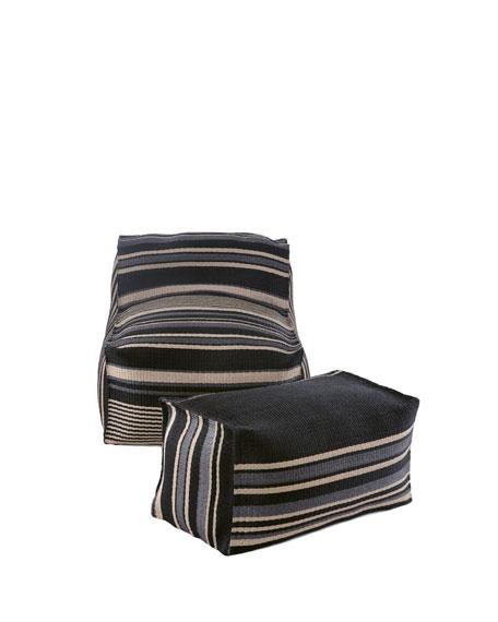 Striped Outdoor Beanbag Chair U0026 Ottoman