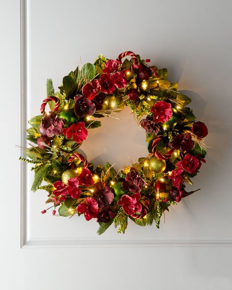 """Bordeaux"" Pre-Lit Christmas Wreath"