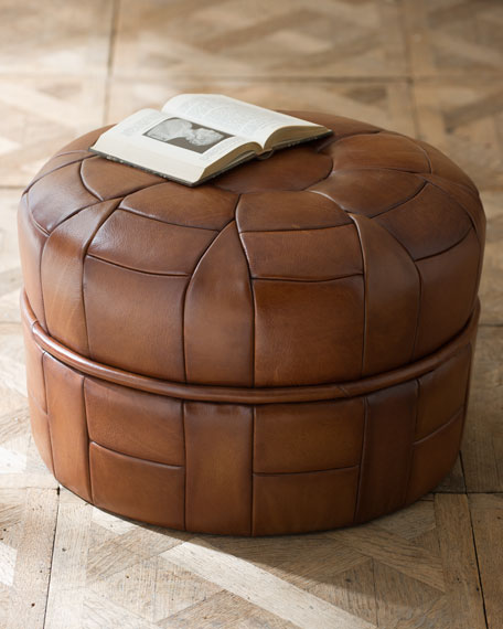"""Petal"" Leather Pouf"