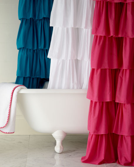 India Rose Ruffle Shower Curtain