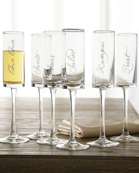"Six ""Cheers"" Stemmed Flutes"