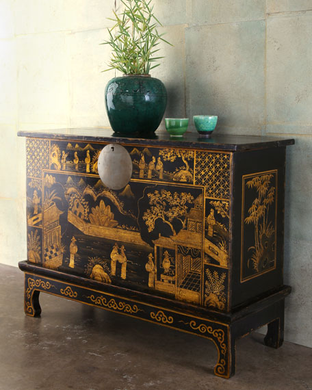 Antique Black & Gold Trunk
