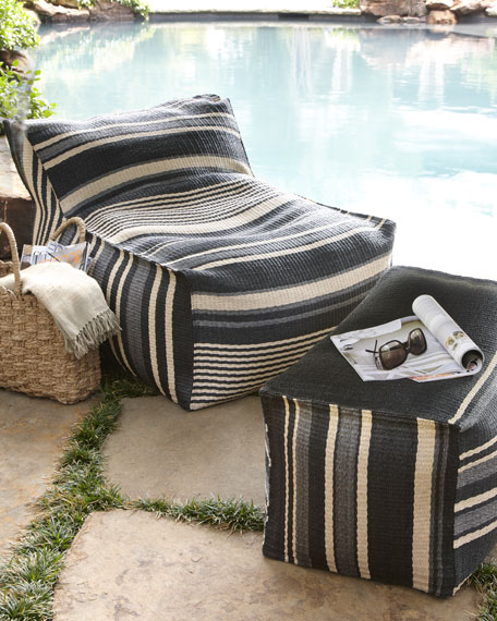 Striped Outdoor Beanbag Chair & Ottoman