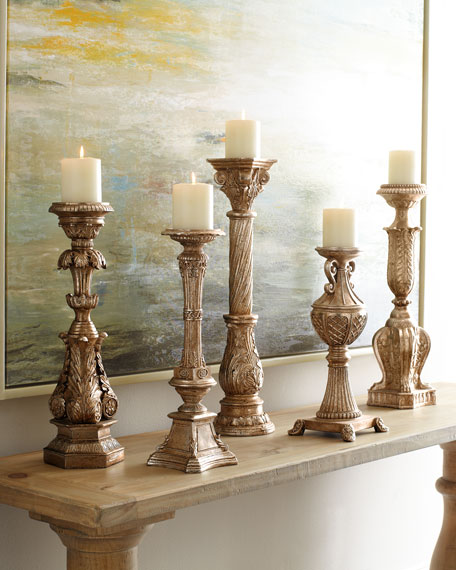 Couture Lamps Five Opulent Silver-Washed Candlesticks