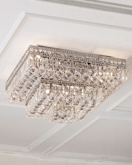 Eight-Light Crystal Flush-Mount Ceiling Fixture
