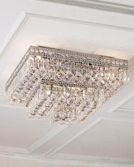 Eight-Light Crystal Flush-Mount Ceiling Fixture