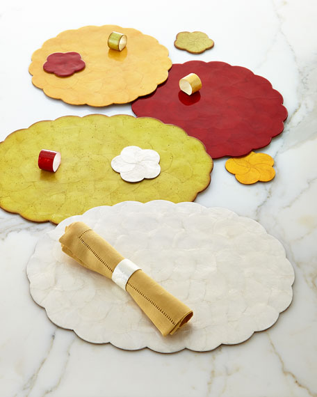 """Four 14"""" Round Capiz Shell Placemats"""