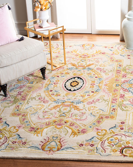 Feather Medallion Rug, 4' x 6'
