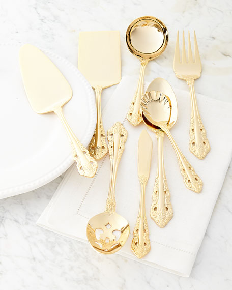 80-Piece Gold-Plated Antique Baroque Flatware