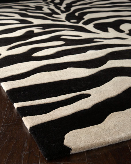 Fair Ivory Zebra Rug, 6' Square