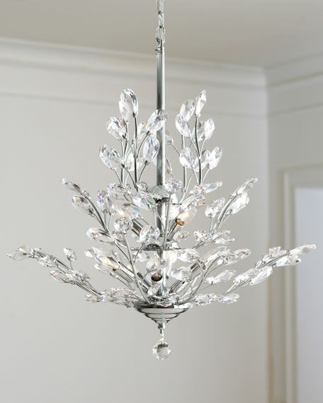 Upside down 9 light silver leaf chandelier