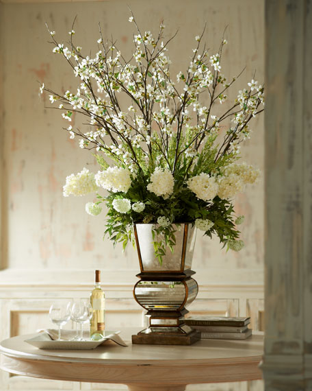 John Richard Collection Ivory Arrangement In Mirrored Planter