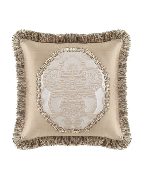"Pure Pewter Pieced Pillow with Brush Fringe, 20""Sq."