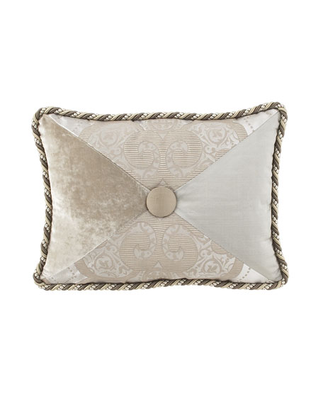 "Pure Pewter Pieced Pillow with Button Center, 12"" x 16"""