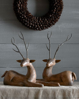 Two Wood Deer With Metal Antlers