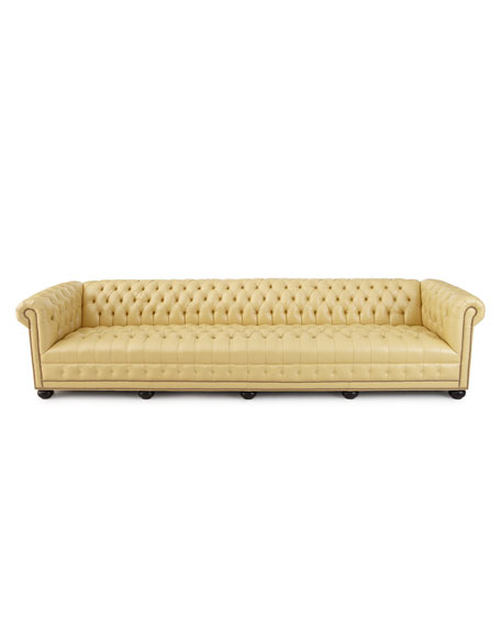 "Zerenity 131.5""L Chesterfield Leather Sofa"
