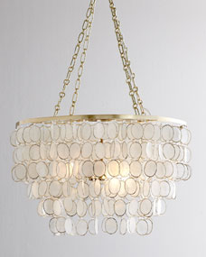 Aurora Three-Light Capiz Shell Golden Chandelier