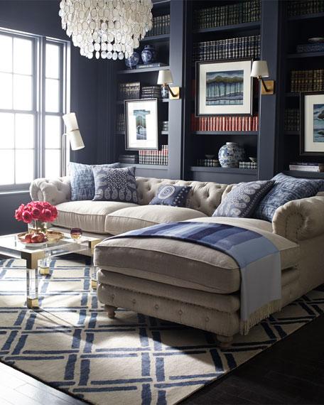 Warner Linen Left-Chaise Sectional Sofa