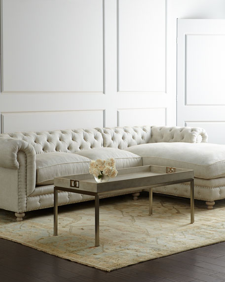 Warner Linen Sectional Sofa, Left Arm Facing