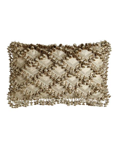 "Kensington Garden Matelasse/Leopard Pillow with Beaded Scalloped Ends, 25"" x 13"""