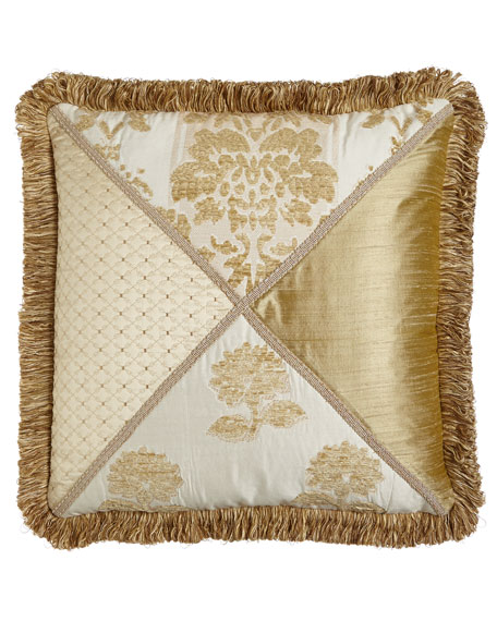 "Antoinette Pieced Pillow with Loop Fringe, 20""Sq."