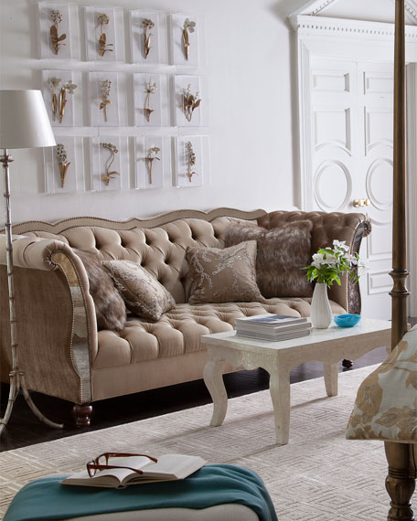 Leslie Mirrored Tufted Sofa