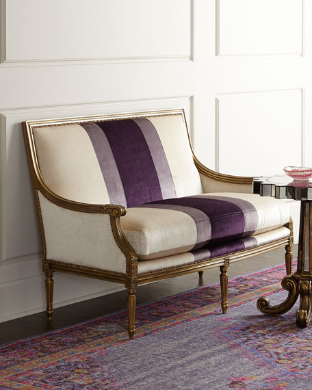 Massoud Lilah Violet Colorblock Settee