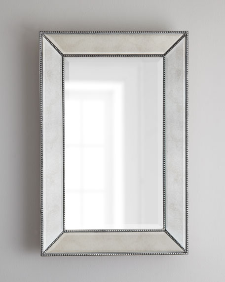 "Beaded Wall Mirror, 26""W"