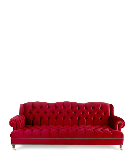 Haute House Mr. Smith Cranberry Tufted Sofa 94.5\'