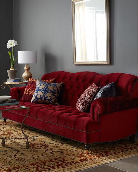 Mr. Smith Cranberry Tufted Sofa 94.5'