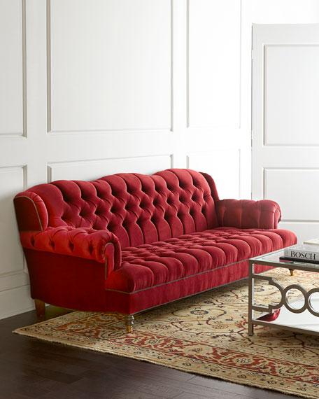 Haute House Mr. Smith Cranberry Tufted Sofa 94.5'