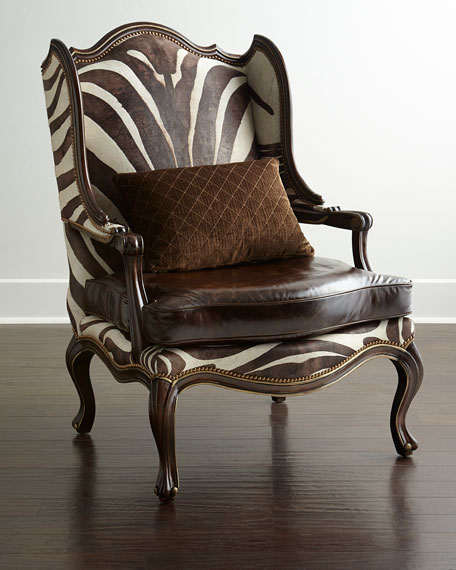 Superior Massoud Zena Hairhide U0026 Leather Wing Chair