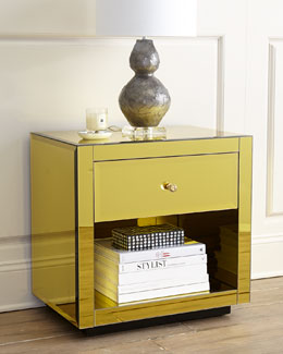 Golinda Golden Mirrored Side Table