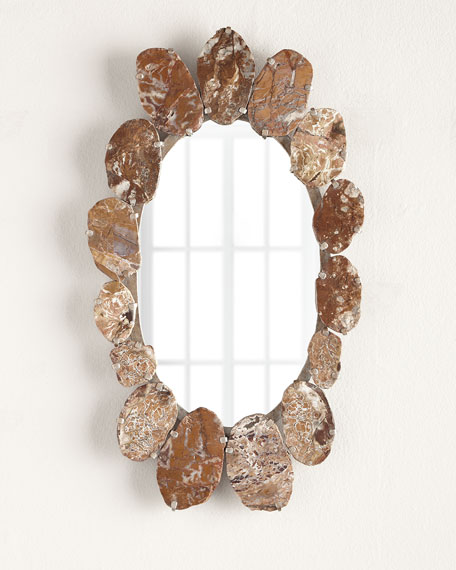 OVAL MIRROR WITH BROWN STONE
