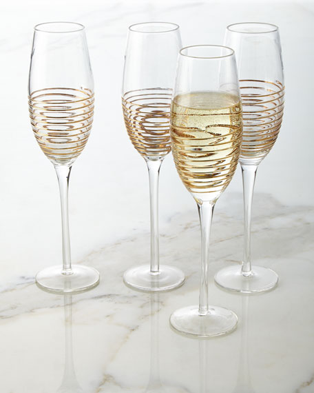 Champagne Flutes with Raised Design, Set of 4