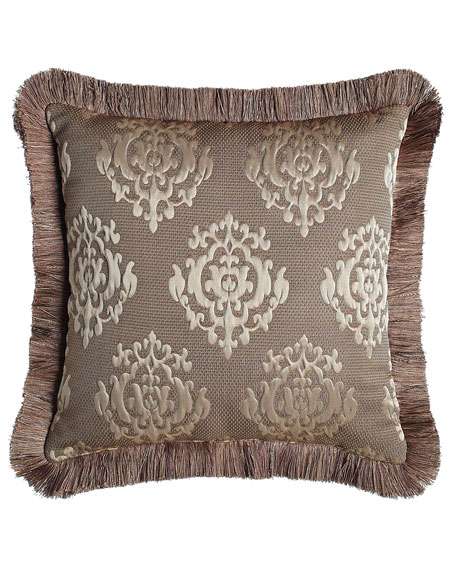 "Le Plaza Reversible Pillow with Fringe,  18""Sq."