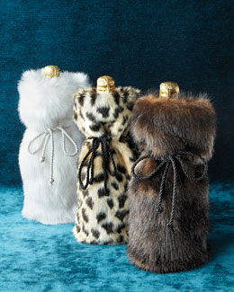 Faux-Mink Wine Bag