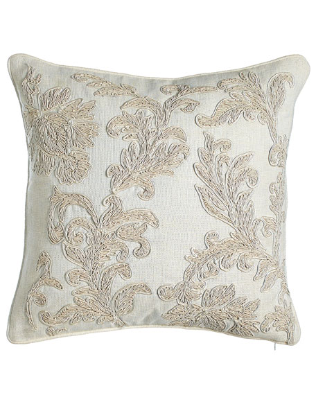 "Embroidered Ivory Florenza Pillow, 18""Sq."