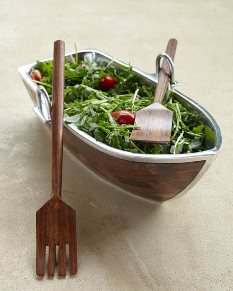 wood salad boat with servers - Wooden Salad Bowls
