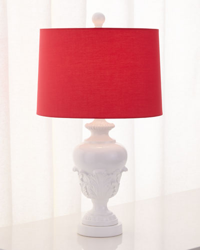 Acanthus Urn Lamp with Pink Shade
