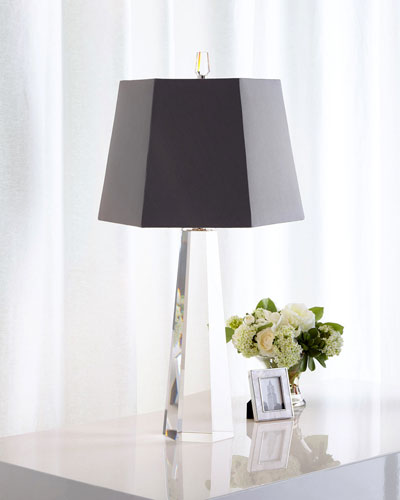 Gray Hexagon Crystal Table Lamp
