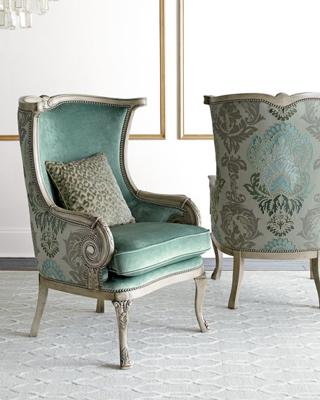 Ordinaire Silver Damask Chair