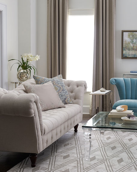 Cream Linen Recamier Sofa