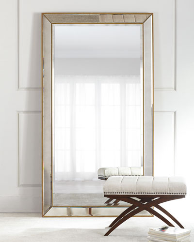 Aldina Golden-Beaded Floor Mirror