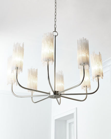 Natural Selenite Shaded 8-Light Chandelier