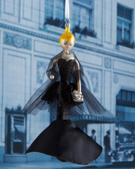 CiCi in Black Evening Dress Christmas Ornament
