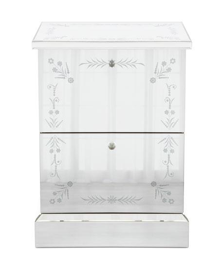 Venetian-Style Mirrored 2-Drawer File Box